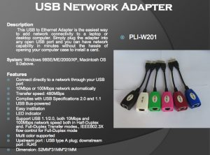 PLI-W201 USB NETWORK ADAPTER