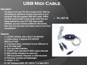 PLI-W718 USB MIDI CABLE