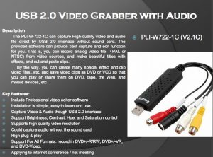 PLI-W722-1C V2 1C USB 2.0 VIDEO GRABBER WITH AUDIO