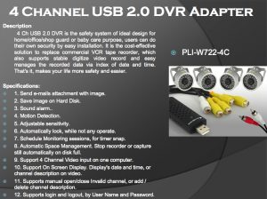 PLI-W722-4C 4 CHANNEL USD 2.0 DVR ADAPTER