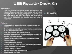 PLI-W750 USB ROLL-UP DRUM KIT